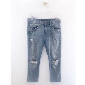 j brand / tyler distressed raw hem boyfriend jeans